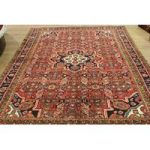 Red Hand Tufted Wool Persian Hossainabad Rug