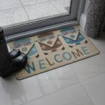 Blue & Brown Washable Welcome Mat Luna