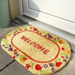 Coco Oval Beige & Red Welcome Floral Pattern Doormat 5918