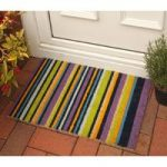 Coco Purple Green Striped Retro Door Mat 8270