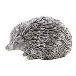 Small Cute Silver Grey Hedgehog Statue Sculpture Metal Animal