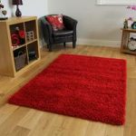 Rich Luxury Thick Chunky Bright Red Shag Rug – Ontario 110 cm x 160 cm