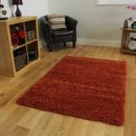 Quality Soft Touch Terracotta Orange Shaggy Rug – Ontario 140cm x