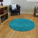 Thick Dense Teal Blue Super Soft Circle Shaggy Rug – Ontario 120cm