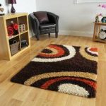 Helsinki Circles Brown Shaggy Rugs 80cm x 150cm