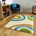 Helsinki Cream and Teal Circles Shaggy Rug 180cm x 270cm