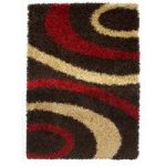 Helsinki Retro Red and Brown Shaggy Rugs 110cm x 160cm
