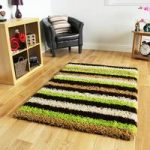 Helsinki Striped Green Shaggy Rugs 80cm x 150cm
