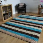 Helsinki Striped Teal Shaggy Rug 80cm x 150cm