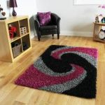 Helsinki Swirl Dark Pink and Black Shaggy Rugs 80cm x 150cm