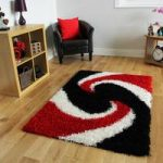 Helsinki Swirl Red and Black Shaggy Rugs 80cm x 150cm
