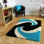 Helsinki Swirl Teal and Black Shaggy Rugs 110cm x 160cm