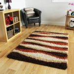 Helsinki Waves Terracotta Shaggy Rugs 80cm x 150cm