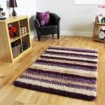Helsinki Striped Purple Shaggy Rugs 80cm x 150cm