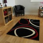 Bombay Black & Red Circle Patterned Rugs 9050 – 60cm x 240cm (2′ x