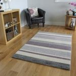 Bombay Easy Clean Funky Purple & Grey Striped Rug 7625 – 110 cm x 160