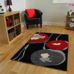 Bombay Modern Grey & Black Red Poppy Print Rug 9183 – 150cm x 210cm