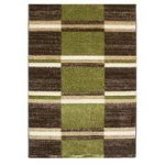 Bombay Olive Green & Brown Squares Pattern Rug 9295 – 70cm x 130cm