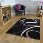 Bombay Soft Black & Purple High Quality Rugs 9050 – 70cm x 130cm (2'4