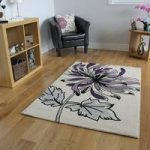 Bombay Soft Cream & Purple Flower Print Rug 8919 – 110 cm x 160 cm