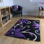 Havana Blossom Black and Purple Contemporary Rugs 70 cm x 140 cm (2'4