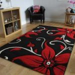 Havana Floral Black and Red Contemporary Rugs 70 cm x 140 cm (2'4 x