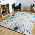 Havana Dandelion Design Blue Contemporary Rugs 150 cm x 220 cm (4'11 x
