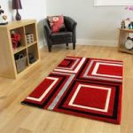 Havana Red Retro Squares Area Rug – 918-Red Havana 110 cm x 160 cm