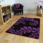 Havana Black Purple Leaf Print Rug – 916-BlackPurple Havana 150 cm x