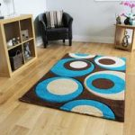 Havana Thick Chocolate Teal Round Shapes Design Rug – 915-BrownTeal