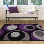 Havana Grey Aubergine Bubbles Rug – 915-Black Purple Havana 110 cm x