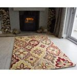 Sofia Retro Terracotta Wool Rugs 110cm x 160cm (3ft 7 x 5ft 2 )