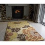 Sofia Yellow Petal Wool Rugs 110cm x 160cm (3ft 7 x 5ft 2 )