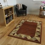 Dakota Burnt Orange Diamond Border Rug 110cm x 150cm (3'7 x 4'11)