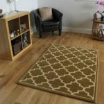 Dakota Gold and Cream Trellis Border Rug 110cm x 150cm (3'7 x 4'11)