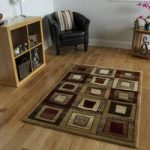 Dakota Modern Blocks Brown and Red Rug 150 cm x 220 cm (4'11 x 7'3 )