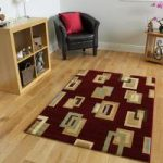 Dakota Modern Cubes Beige and Red Rug 110cm x 150cm (3'7 x 4'11)