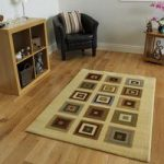 Dakota Modern Squares Cream and Beige Rugs 150 cm x 220 cm (4'11 x 7'3