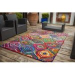 Cairo Ikat Multi Coloured Modern Rugs – 110 cm x 160 cm (3'7 x 5'3 )