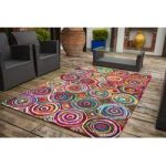 Cairo Spiral Multi Coloured Modern Rugs – 110 cm x 160 cm (3'7 x 5'3 )
