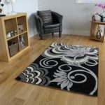 Black & Grey Modern Flower Rug 1705 Montego – 60 x 110cm (2ft x 3ft 7