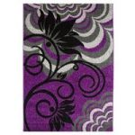 Trendy Luxurious Purple & Black Flower Mat 1705 – Montego 110cm x
