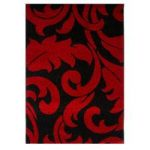 Elegant Contemporary Red & Black Leaf Design Mat 9029 – Montego 60cm x