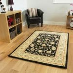 Black Beige Persian Style Traditional Rugs – Zielger 80x150cm (2'6