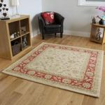 Non Shed Soft Cream Brown Traditional Large Square Rugs – Ziegler