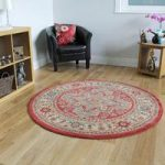 Traditional Red Beige Persian Style High Quality Large Circle Rugs –