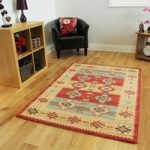 Modern Red Blue Aztec Style Large Square Rugs – Zielger 160cmx160cm