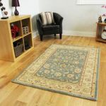 Thick Floral Blue Beige Traditional Border Rugs – Zielger 80x150cm