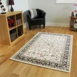 Soft Traditional Cream Black High Quality Polyester Border Rugs –