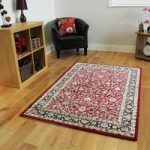 Thick Stain Resistant Red Silver Luxury Traditional Design Rugs –